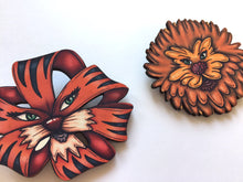 Load image into Gallery viewer, Dandelion and Tiger Lily Plant Brooch Pair - Alice in Wonderland - Laser Cut Wood Brooches