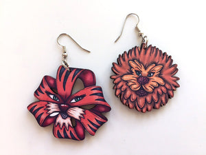 Dandelion and Tiger Lily Flowers - Alice in Wonderland - Laser Cut Wood Dangly Earrings