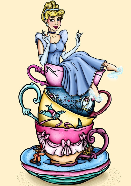 Teacup Cinderella- A4 Art Print by Hungry Designs