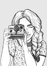 Load image into Gallery viewer, Girl and Camera - A4 Art Print by Hungry Designs