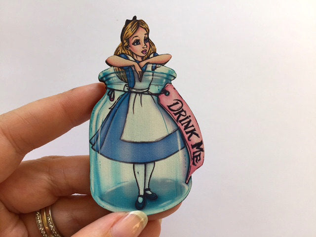 Alice Drink Me Bottle - Alice in Wonderland - Laser Cut Wood Brooch