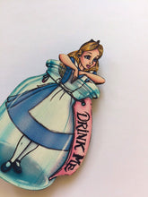 Load image into Gallery viewer, Alice Drink Me Bottle - Alice in Wonderland - Laser Cut Wood Brooch