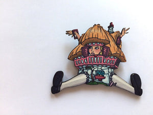 Alice in Wonderland - White Rabbit House - Laser Cut Wood Brooch