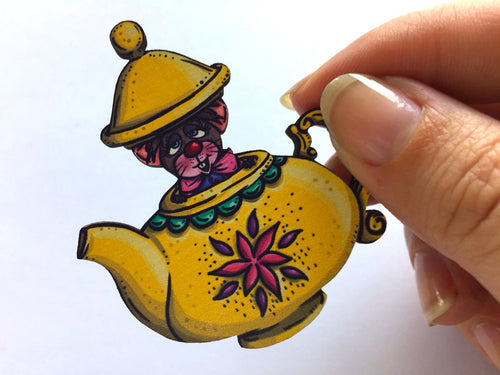 Teapot Mouse Alice in Wonderland Laser Cut Wood Brooch
