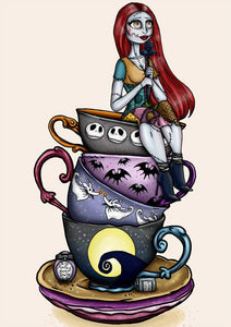 Teacup Sally - A Nightmare Before Christmas A4 Art Print by Hungry Designs