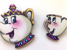 Load image into Gallery viewer, Mrs. Potts and Chip - Beauty and the Beast - Laser Cut Wood Brooch Pair