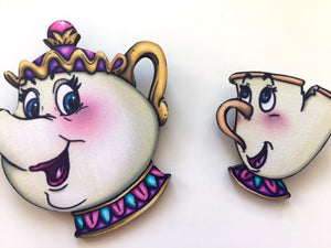 Mrs. Potts and Chip - Beauty and the Beast - Laser Cut Wood Brooch Pair