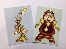 Load image into Gallery viewer, Cogsworth and Lumiere - Beauty and the Beast - Postcard Pair