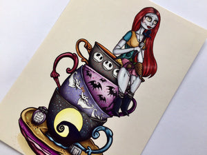 Teacup Emily - The Corpse Bride - Teacup Sally - A Nightmare Before Christmas Postcard Pair