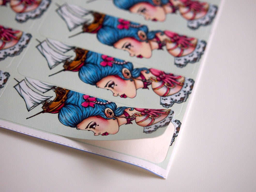 Sheet of Stickers - Pirate Marie Antoinette