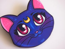 Load image into Gallery viewer, Luna Sailor Moon Laser Cut Wood Brooch