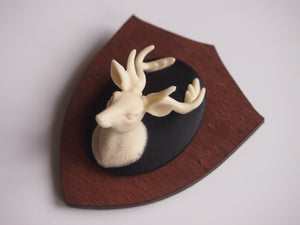 Mounted Deer Head on Wooden Laser Cut Wood Brooch
