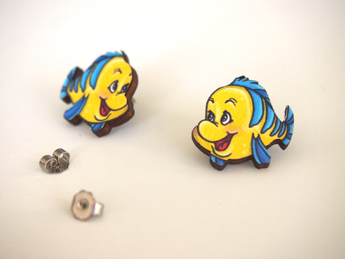 Flounder The Little Mermaid Laser Cut Wood Earrings