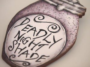 Deadly Night Shade Potion Bottle Brooch - A Nightmare Before Christmas - Laser Cut Wood Brooch
