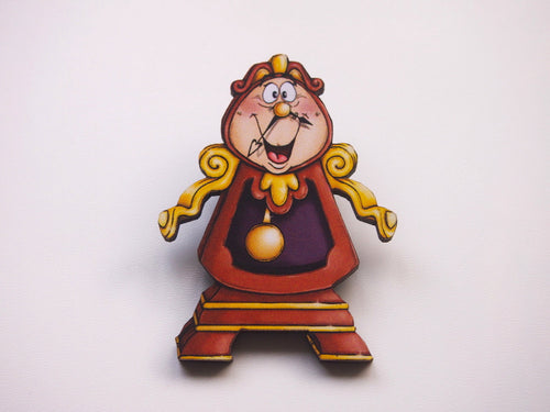 Cogsworth -  Beauty and the Beast Laser Cut Wood Brooch