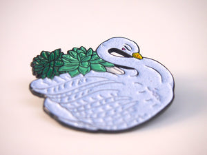Succulent Swan Planter Pin Badge by Hungry Designs