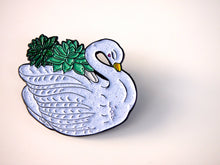 Load image into Gallery viewer, Succulent Swan Planter Pin Badge by Hungry Designs