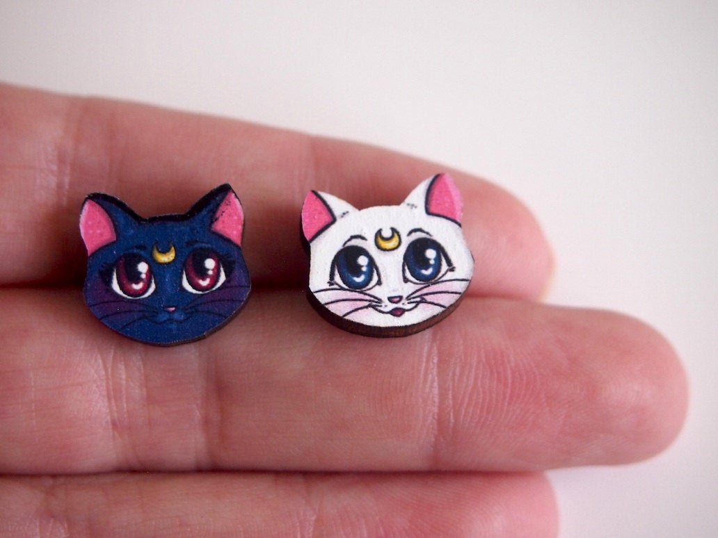 Artemis and Luna - Sailor Moon - Laser Cut Wood Earrings - SMALL