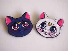 Load image into Gallery viewer, Luna and Artemis - Sailor Moon - Laser Cut Wood Brooch Pair