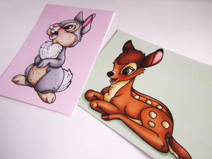 Bambi and Thumper Postcard Pair