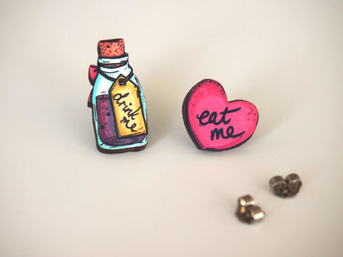 Drink Me and Eat Me Mis-Matched Laser Cut Wood Stud Earrings