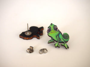 Pascal Chameleon from Rapunzel Laser Cut Wood Earrings