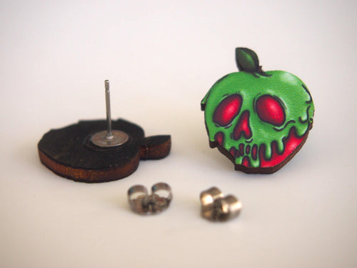 Poison Apple Laser Cut Wood Stud Earrings