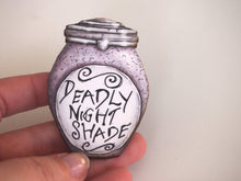 Load image into Gallery viewer, Deadly Night Shade Potion Bottle Brooch - A Nightmare Before Christmas - Laser Cut Wood Brooch
