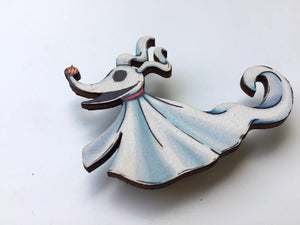 Zero Brooch - A Nightmare Before Christmas - Laser Cut Wood Brooch
