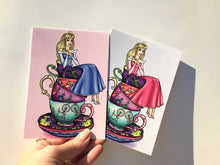 Load image into Gallery viewer, Teacup Aurora - Sleeping Beauty - Blue and Pink - Postcard Pair