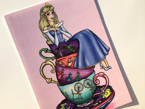 Teacup Aurora - Sleeping Beauty - BLUE - Postcard