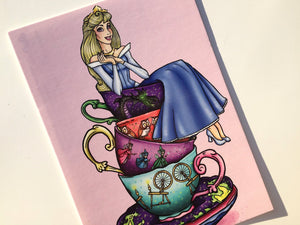 Teacup Aurora - Sleeping Beauty - Blue and Pink - Postcard Pair