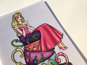 Teacup Aurora - Sleeping Beauty - Pink - Postcard Pair