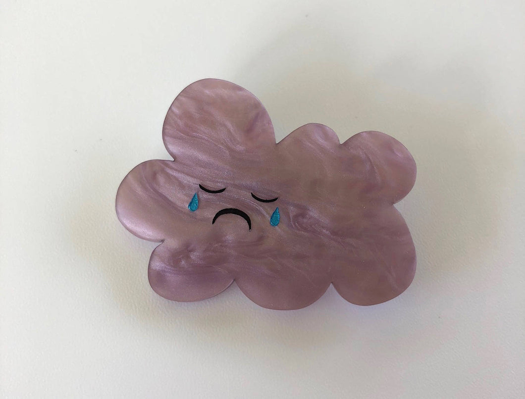 Grumpy Sad Rainy Cloud  - Painted Grey / Purple Pearlescent Laser Cut Acrylic Brooch