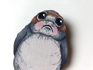 Blushing Porg Brooch - Star Wars - The Last Jedi - Laser Cut Wood Brooch
