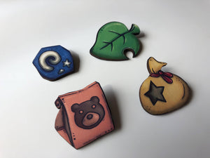 Animal Crossing Brooch Set - Laser Cut Wood Brooch