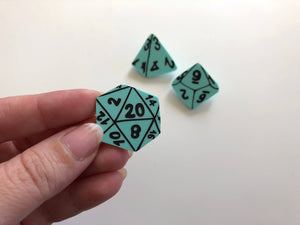 D&D Role-Playing Dice Brooch Set - Turquoise - Three Brooch Set - Laser Cut Acrylic