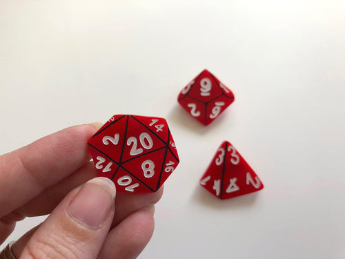 D&D Role-Playing Table Top Gamer Dice Brooch Set - Red - Three Brooch Set - Laser Cut Acrylic
