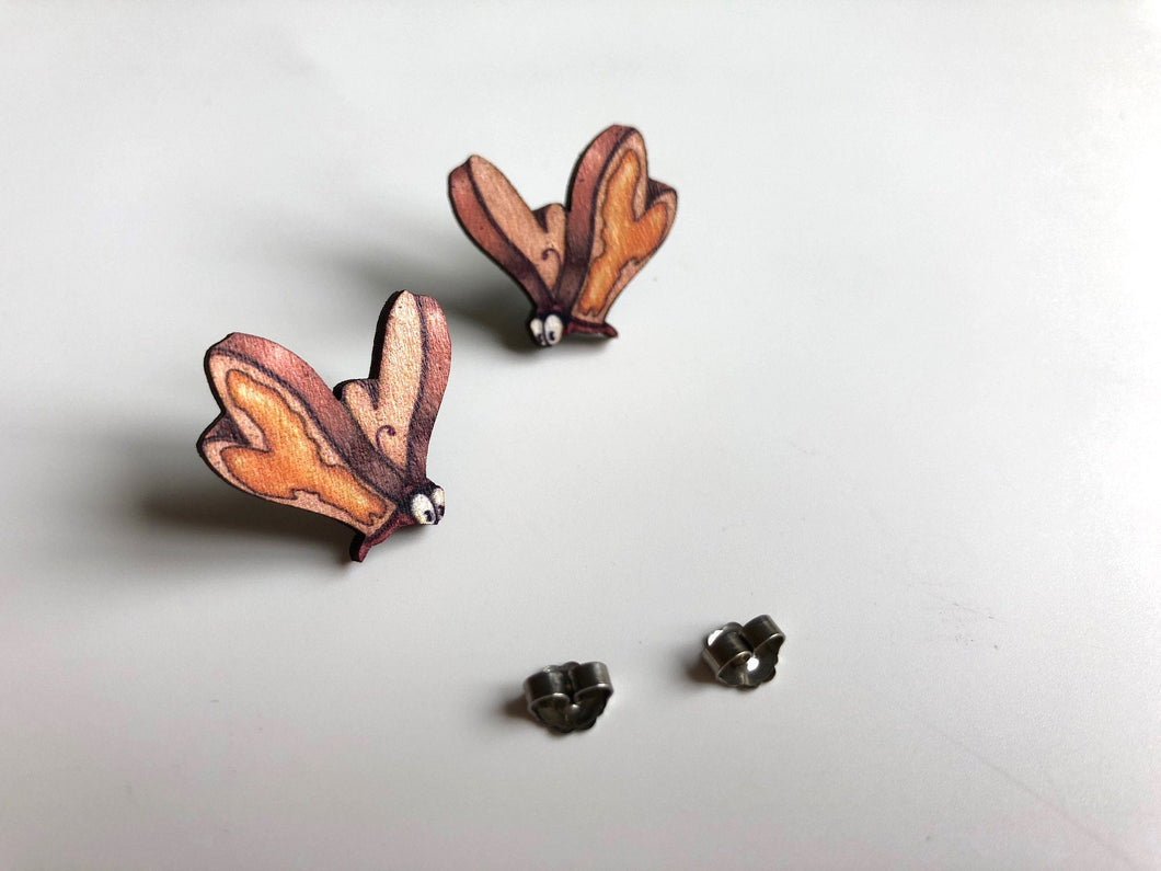 Bread and Butterfly - Alice in Wonderland - Laser Cut Wood Earrings