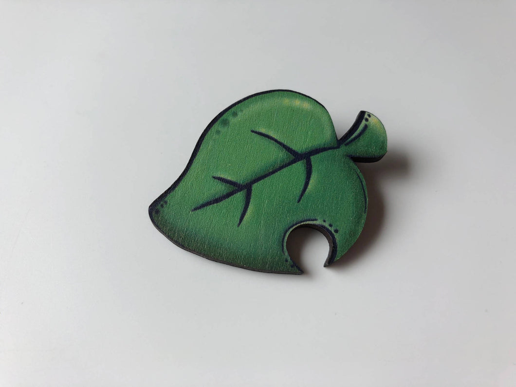 Animal Crossing Pocket Camp Leaf Brooch- Laser Cut Wood Brooch