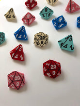 Load image into Gallery viewer, D&D Role-Playing Table Top Gamer Dice Brooch Set - Red - Three Brooch Set - Laser Cut Acrylic