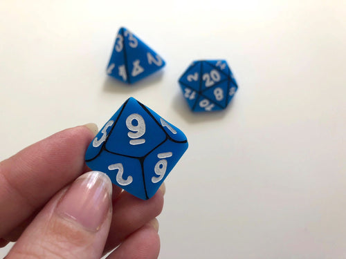 D&D Role-Playing Table Top Gamer Dice Brooch Set - Blue - Three Brooch Set - Laser Cut Acrylic