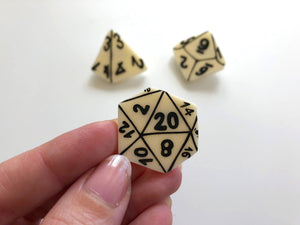 D&D Role-Playing Table Top Gamer Dice Brooch Set - Ivory Colour - Three Brooch Set - Laser Cut Acrylic