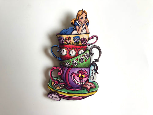 NEW LARGER Teacup Alice - Alice in Wonderland - Laser Cut Wood Brooch