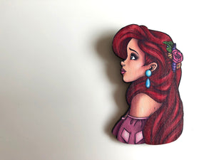 NEW LARGER Princess Profile - Ariel - The Little Mermaid - Laser Cut Wood Brooch