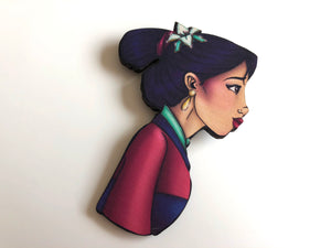 NEW LARGER Princess Profile - Mulan - Laser Cut Wood Brooch