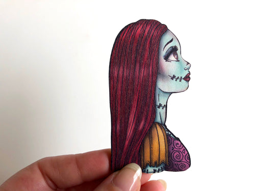 NEW LARGER Princess Profile - Sally - A Nightmare Before Christmas - Laser Cut Wood Brooch