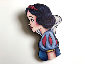 NEW LARGER Princess Profile - Snow White - Snow White and the Seven Dwarfs - Laser Cut Wood Brooch