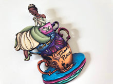 Load image into Gallery viewer, NEW LARGER Teacup Tiana - The Princess and the Frog - Laser Cut Wood Brooch