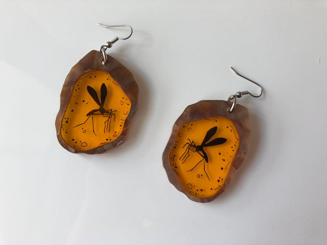 Mosquito in Amber - Jurassic Park - Laser Cut Acrylic Dangle Earrings